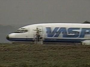 Boeing 737-300 da Vasp, sequestrado pelo maranhense Raimundo Nonato. Foto: Reprodução / GMC / Rede Globo