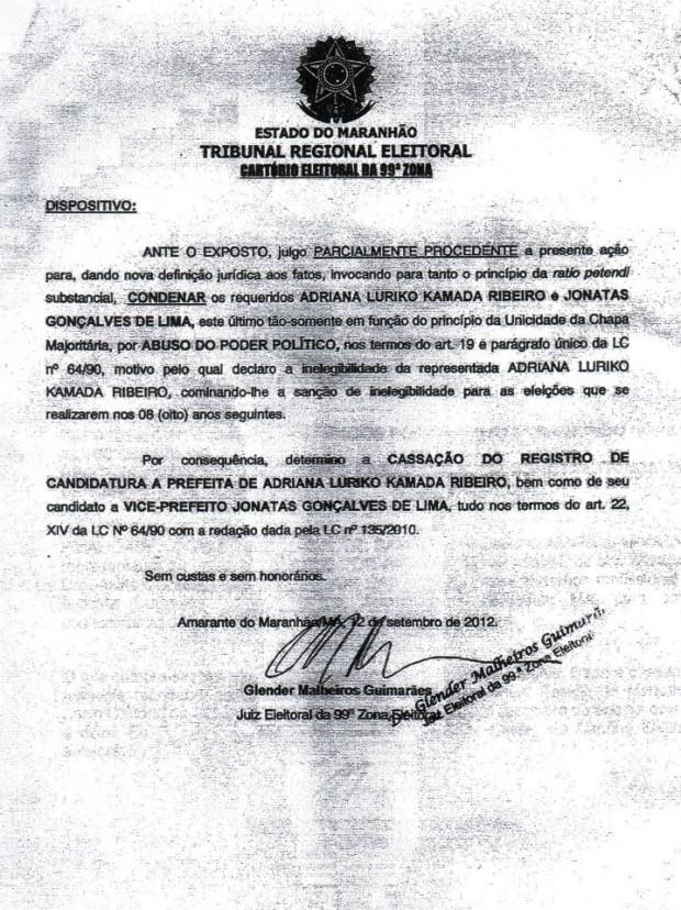 Adriana Ribeiro teve seu registro de candidatura cassado pela Justiça Eleitoral