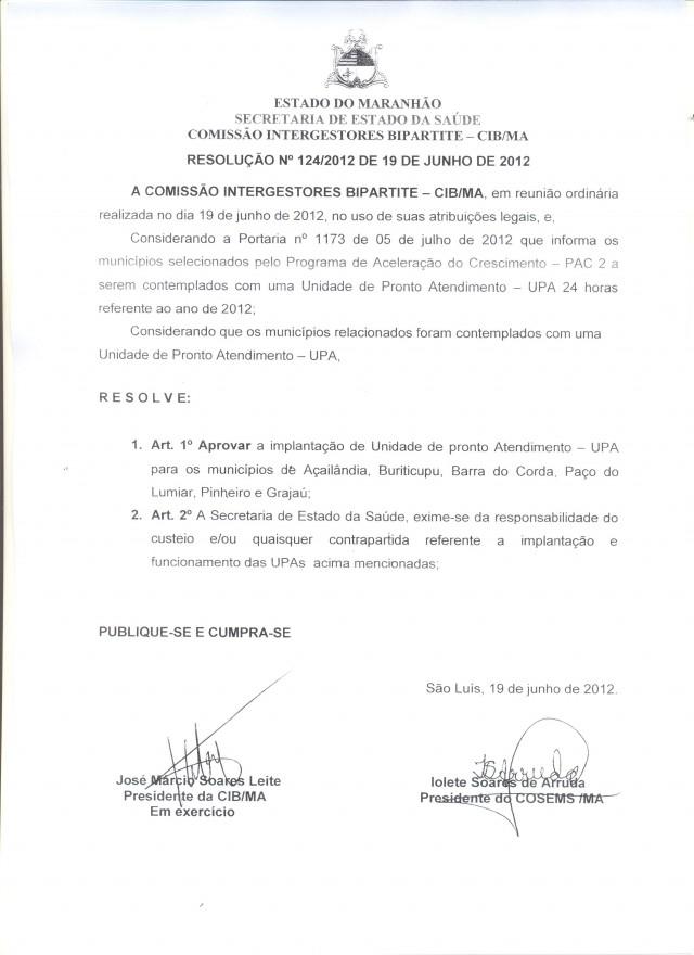 Resolução nº 124/2012 de 19 de junho de 2012
