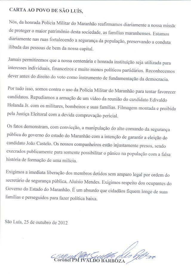 Coronel acusa Aluísio Mendes de usar a PM para tentar eleger João Castelo