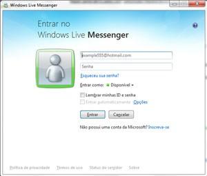 Tela de login do MSN Messenger, que será descontinuado bem 2013. Foto: Reprodução