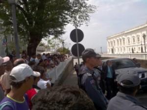 Professores do ProJovem Urbano fazem manifestação por melhores salários. Foto: Reprodução