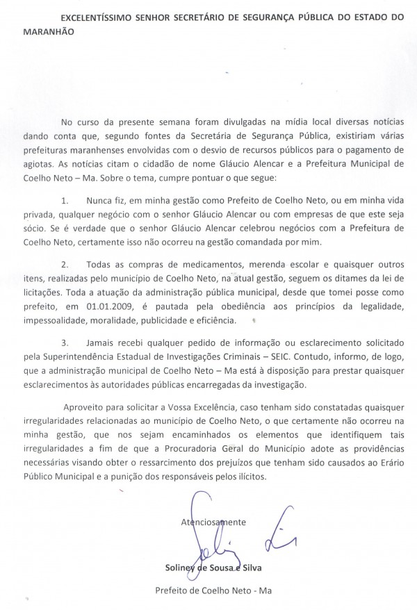 Soliney Silva solicitou esclarecimentos ao secretário Aluísio Mendes