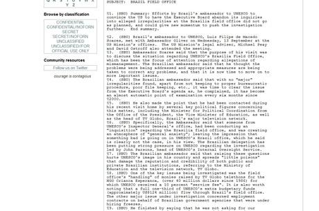 Material, de 2006, menciona o então embaixador do Brasil na França, que teria informado diretoria da Unesco sobre irregularidades no escritório brasileiro da entidade - Reprodução/Wikileaks
