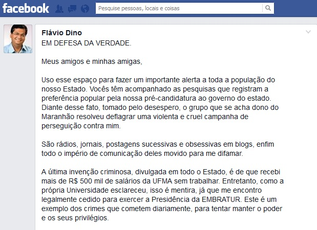 Presidente da Embratur usou página pessoal em rede social para fugir das denúncias e criar falso clima de perseguição política