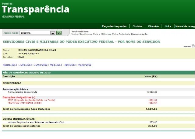 TAMBÉM SEM TRABALHAR Dimas Salustiano recebe apenas o salário da UFMA.
