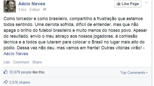 """Aécio falou em """"frustração"""" pelo Facebook"""