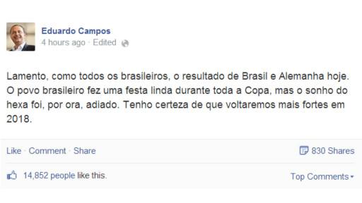 """Pela redes sociais, Campos disse """"lamentar"""" derrota"""