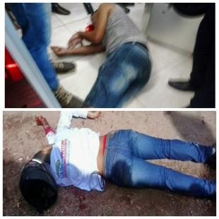 Acima o PM Geovane atingido com um tiro na cabeça. Abaixo o bandido morto na tentativa de assalto