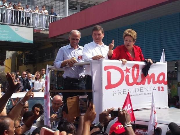 Dilma fez campanha eleitoral na região de Venda Nova, em Belo Horizonte (Foto: Cristiano Martins/G1)