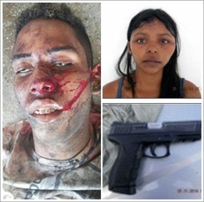 João Vitor , morto em confronto com a polícia; Mikaela, namora do 'Boca' presa em Bacabal, e a arma da PC apreendida com o suspeito morto