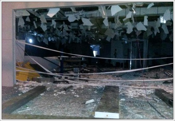 A agência do Banco do Brasil ficou completamente destruída