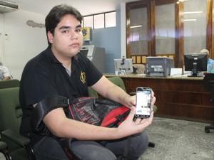 Estudante Jomásio Barros denunciou o vazamento  do Enem na PF (Foto: Gilcilene Araújo/G1)