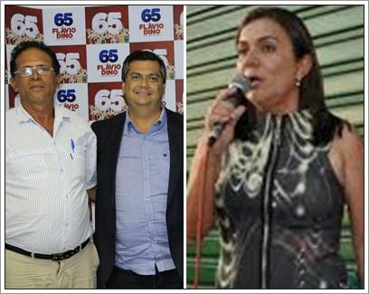 O ex-vereador Zé Neto, de Zé Doca ao lado do governador Flávio Dino. À direita, a ex-prefeita de Monção Paula Francinete