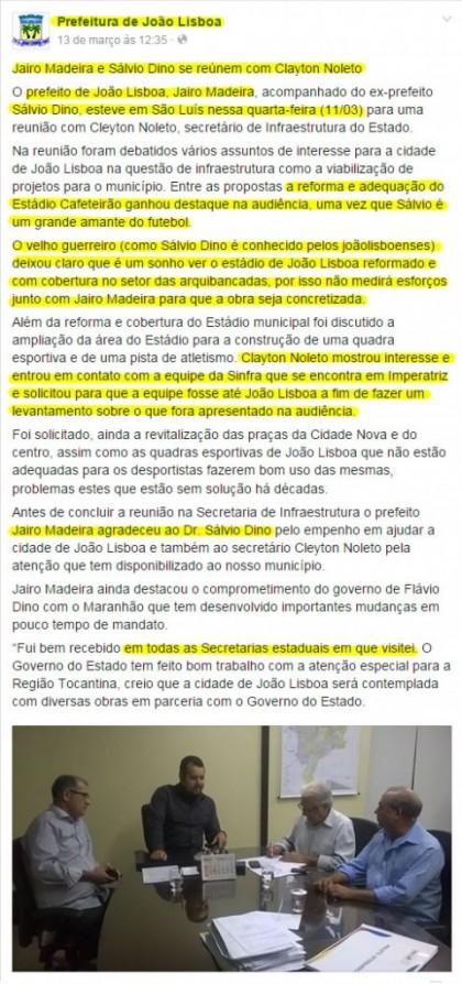 Texto e imagem divulgados pela Prefeitura de João Lisboa revelam que pai do governador do Maranhão pode ter cometido crime de tráfico de influência