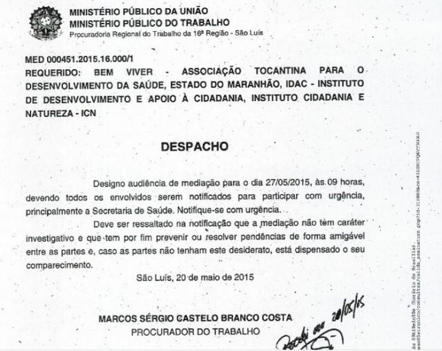 Cópia do despacho do Ministério Público do Trabalho divulgada pela Bem Viver
