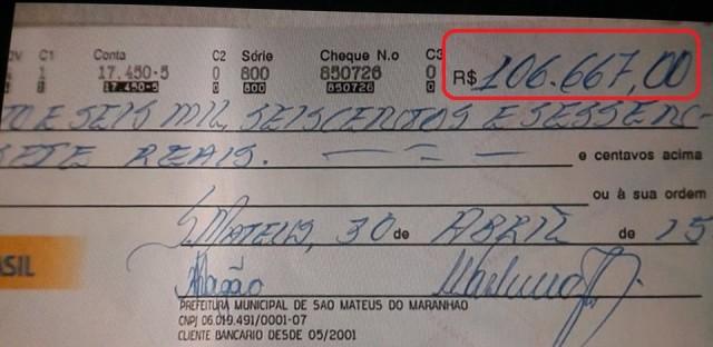 Cheque da Prefeitura de São Mateus