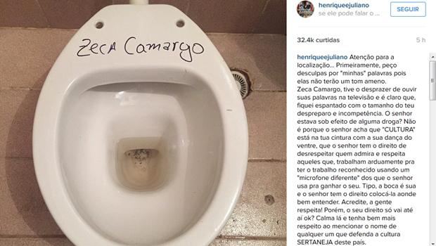 A dupla sertaneja Henrique e Juliano protestou em rede social