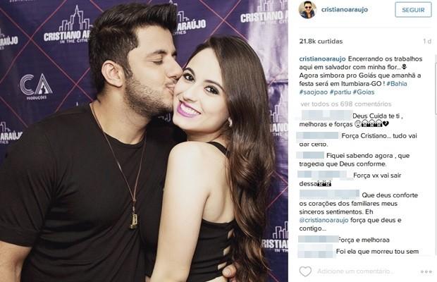 Sertanejo postou foto com a namorada momento antes do show